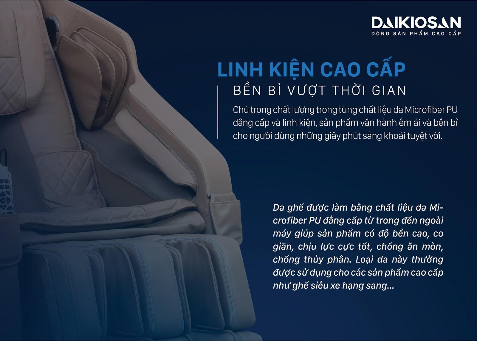 Ghế massage Daikiosan sở hữu chất liệu ghế cao cấp