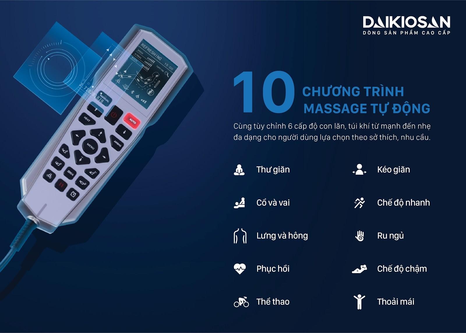 Ghế massage Makano, Daikiosan có dòng sở hữu 10 - 15 chương trình massage