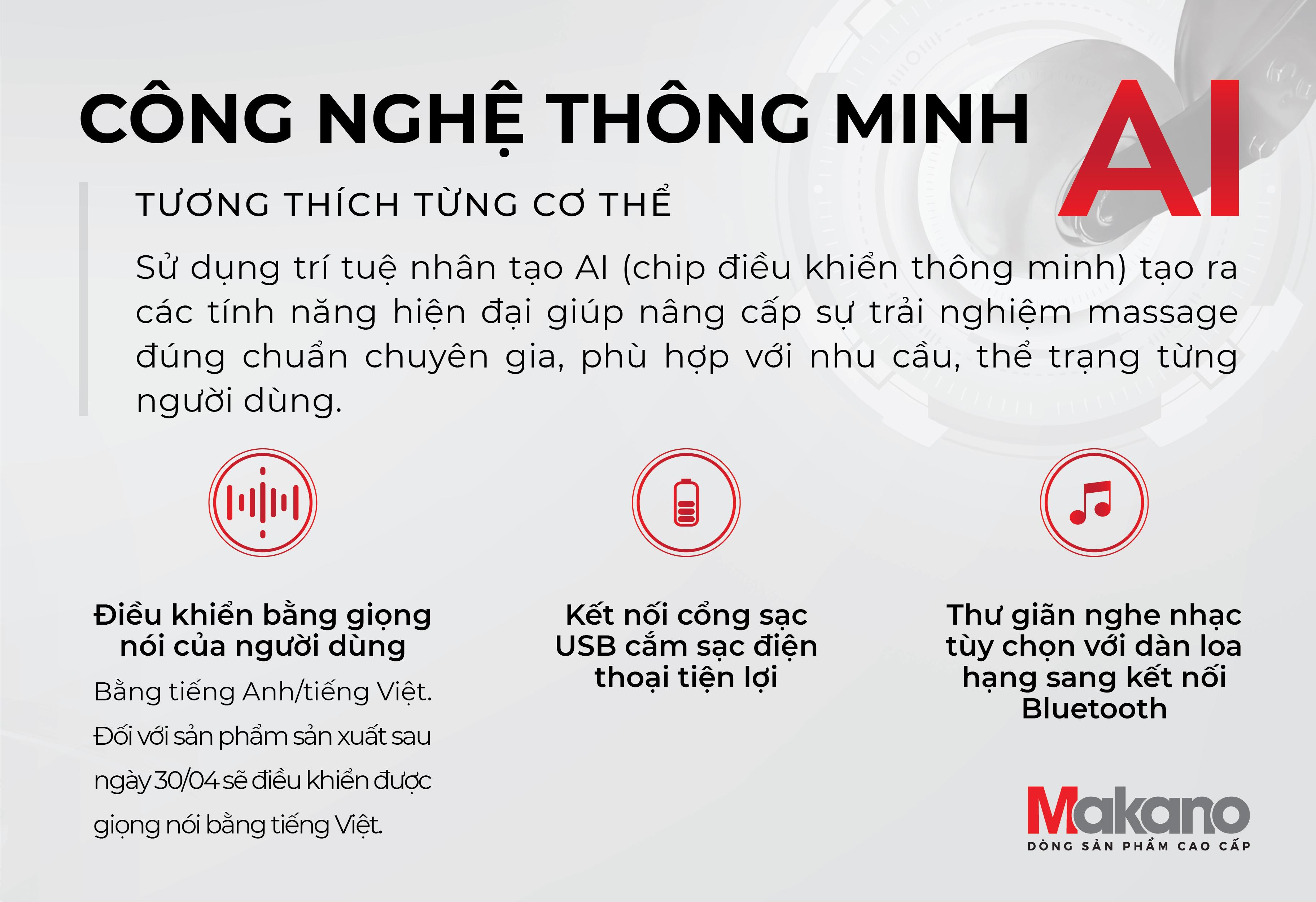 Công nghệ AI ghế massage Makano MKGM-30002