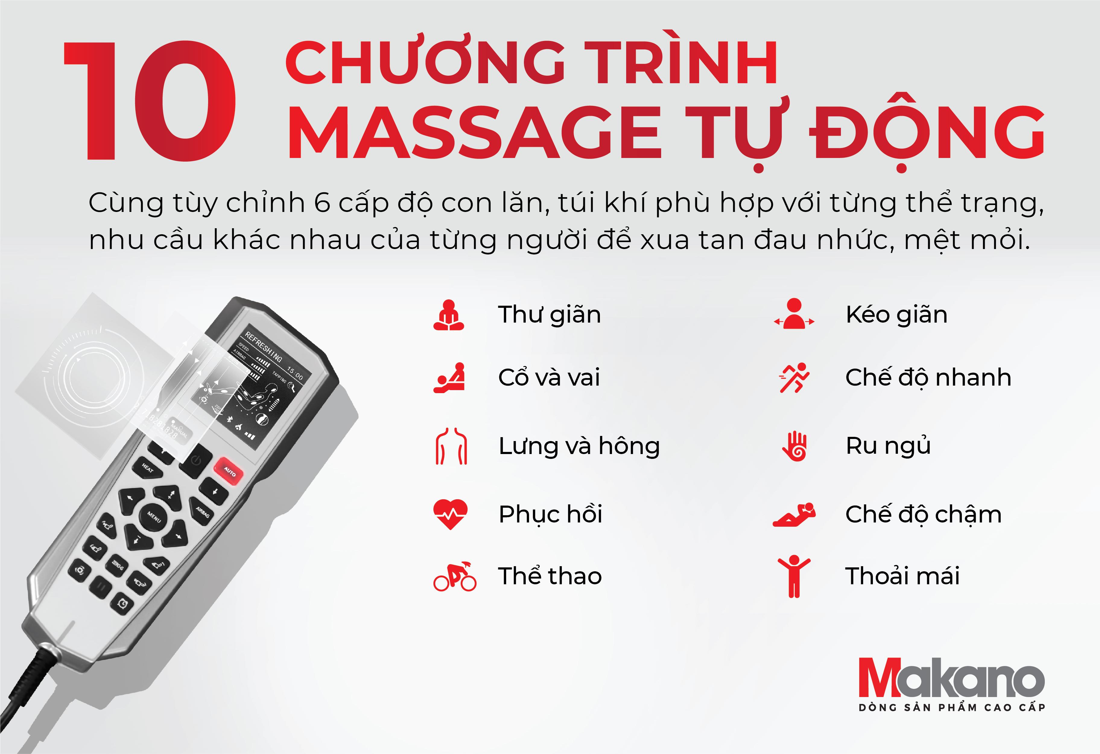 Chương trình massage tự động - ghế massage Makano MKGM-30002