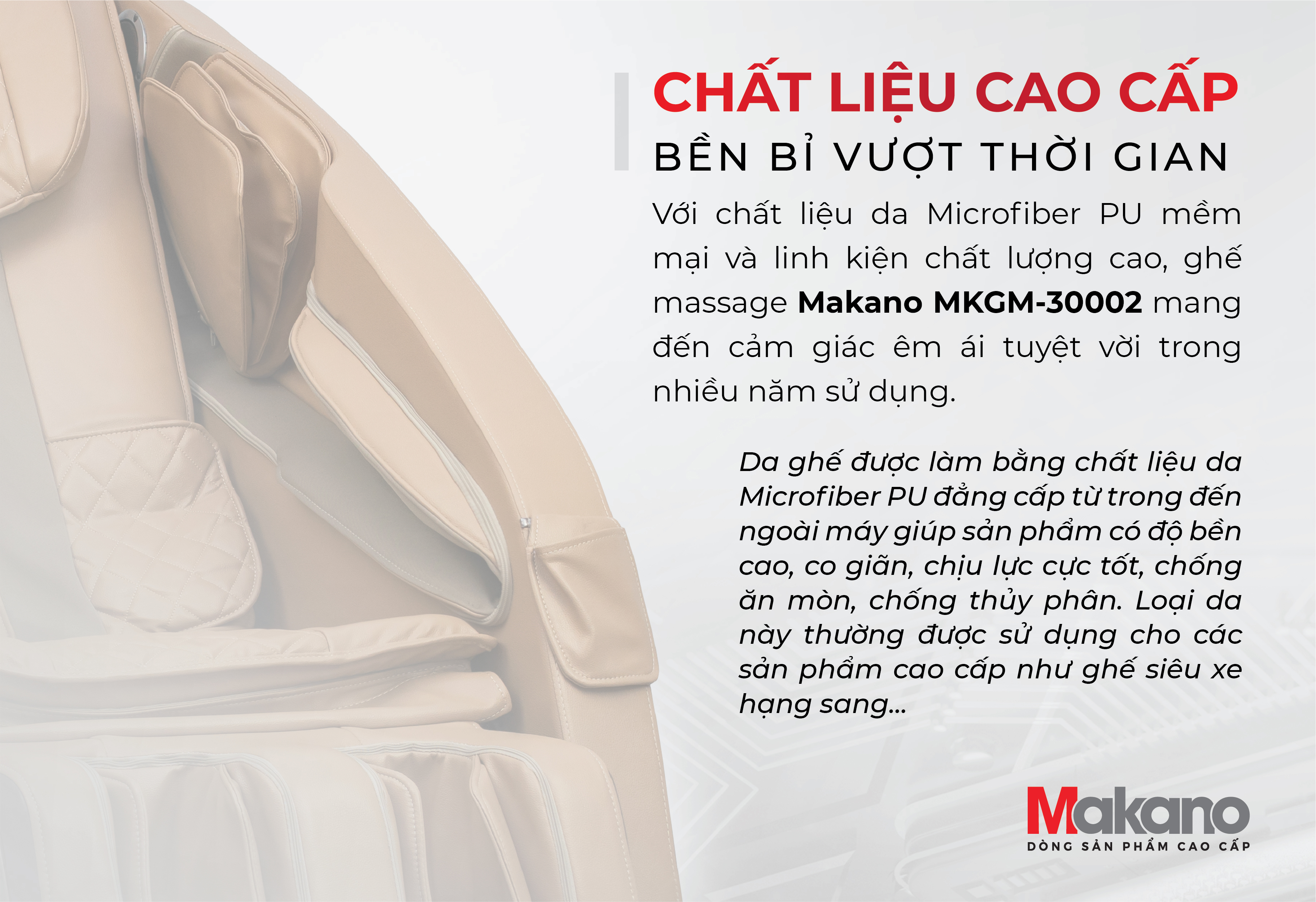 Chất liệu da - ghế massage Makano MKGM-30002