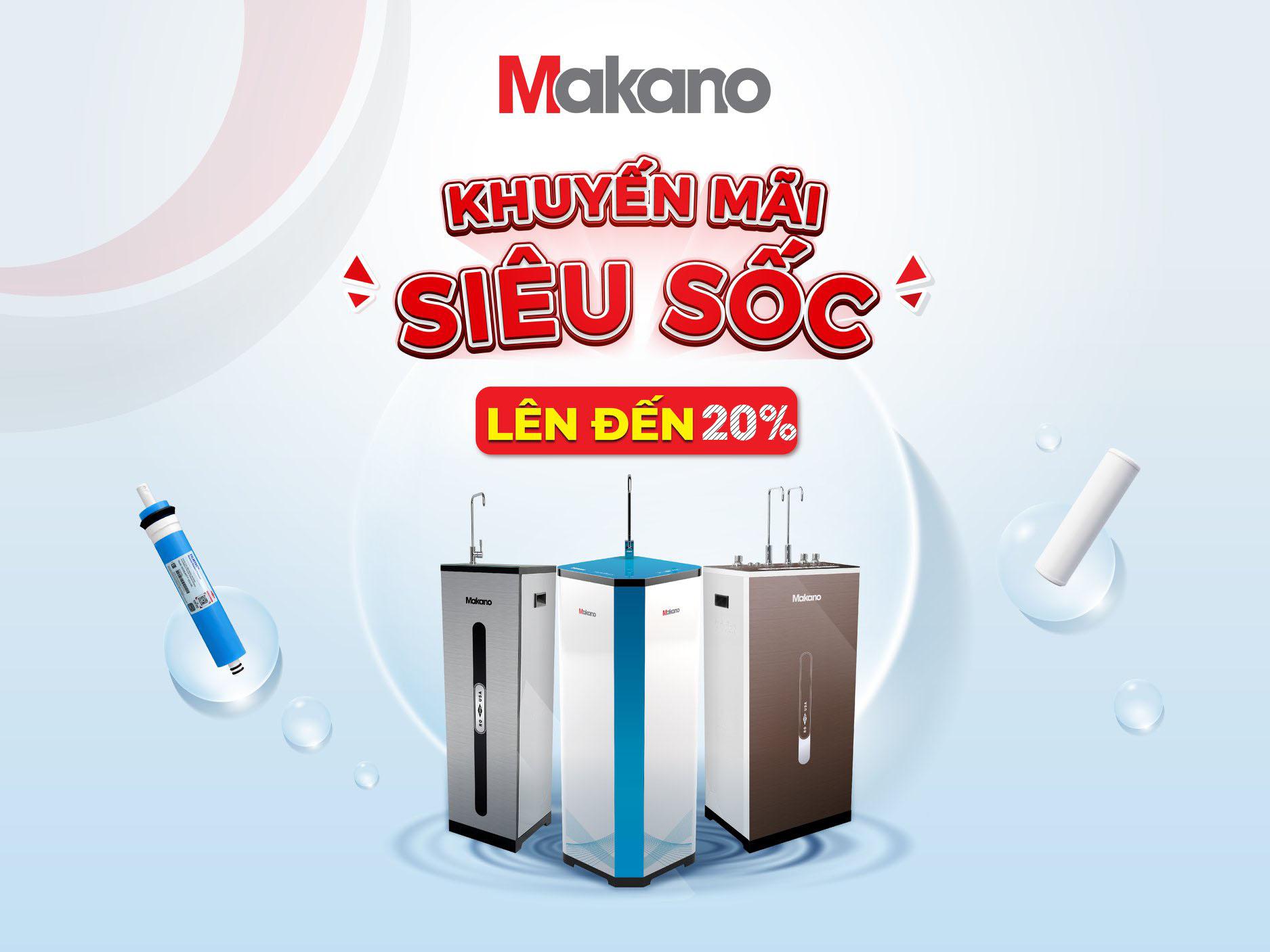 Khuyến mãi 20% khi mua máy lọc nước Makano