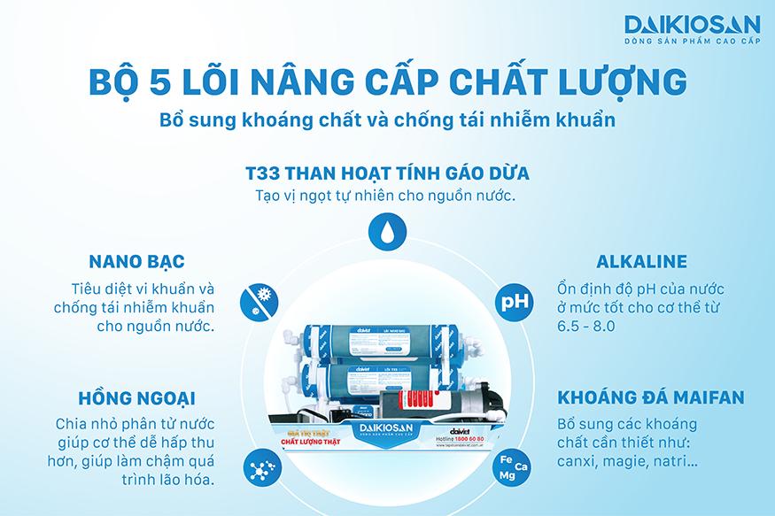 Máy lọc nước nóng nguội lạnh Daikiosan DSW-42810H có tới 5 lõi nâng cấp
