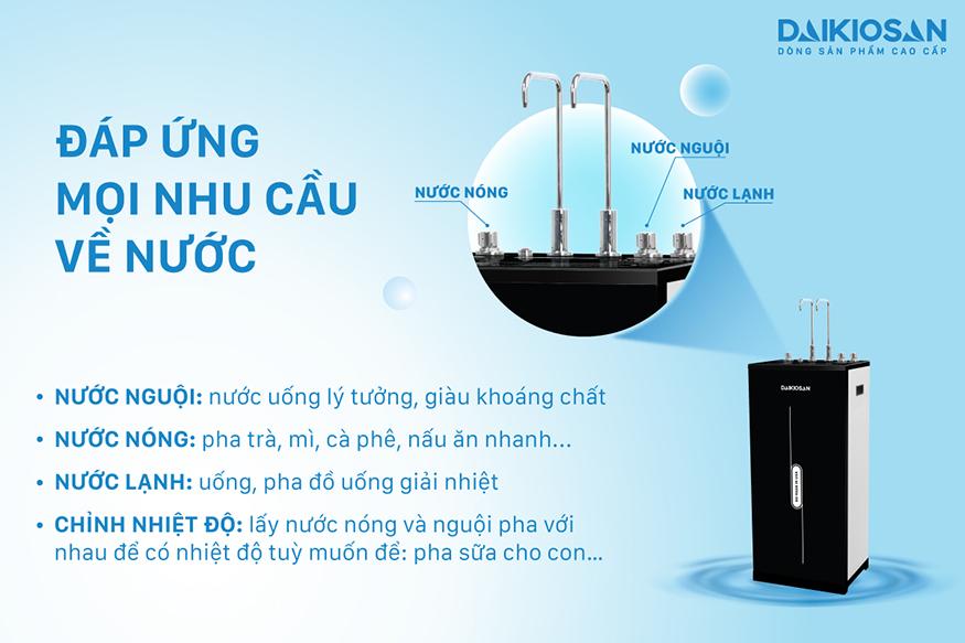 Máy lọc nước RO nóng nguội lạnh Daikiosan DSW-42810H có tới 3 chế độ nước tiện ích