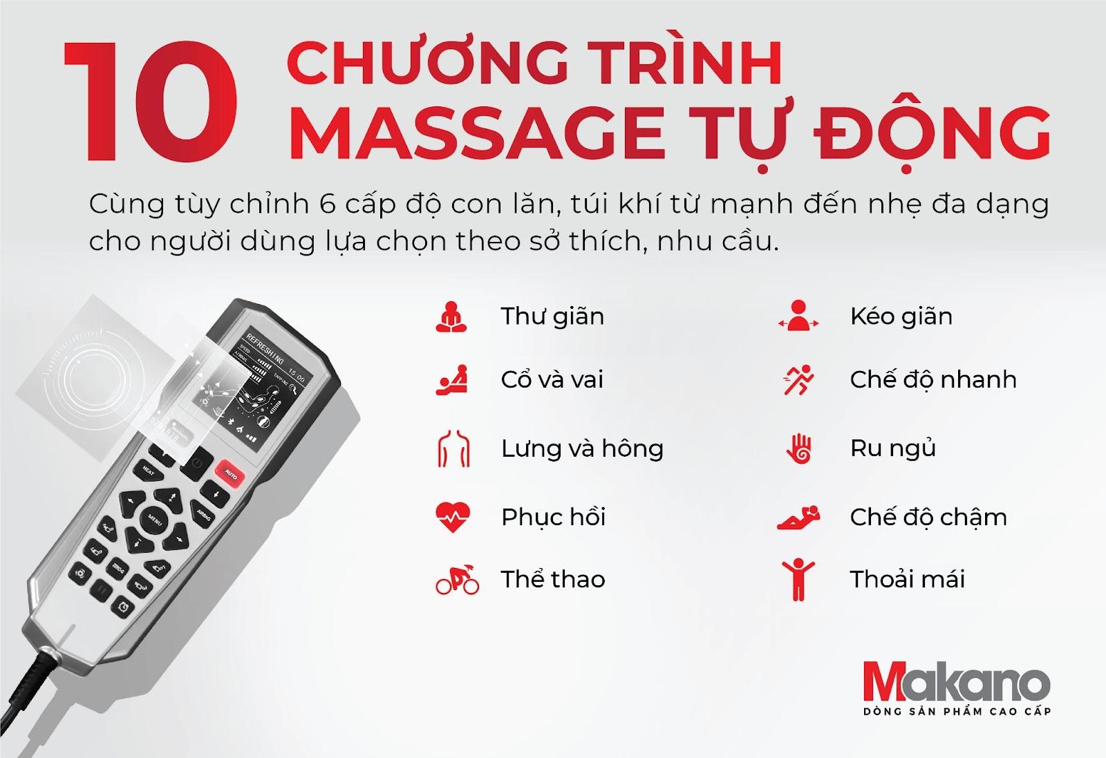 Chương trình massage dễ dàng lựa chọn cho người sử dụng