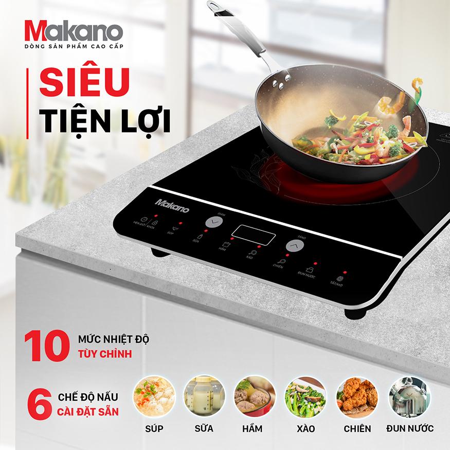 10 mức nhiệt độ tùy chỉnh, 6 chế độ nấu cài đặt sẵn