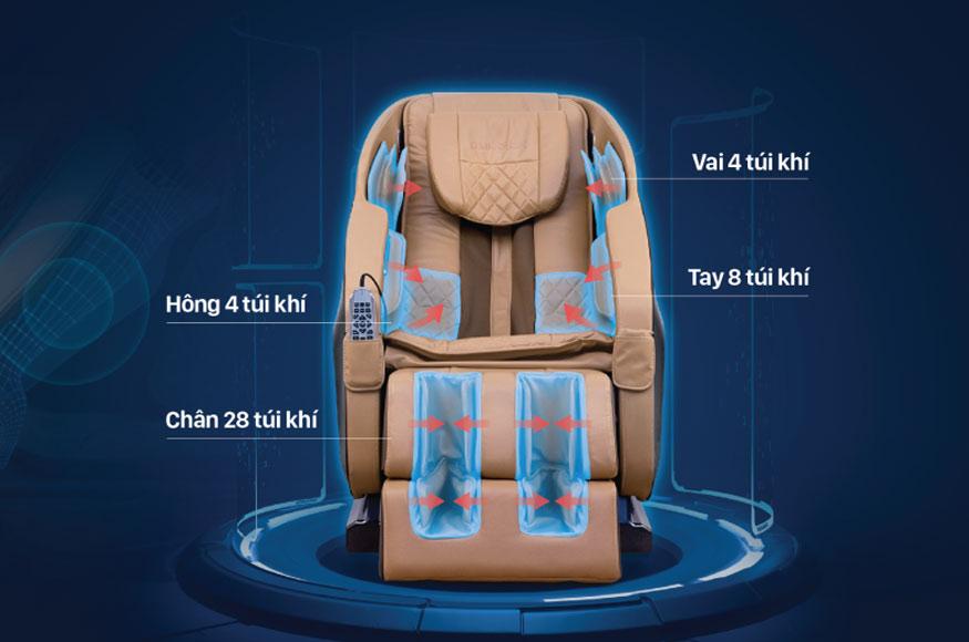 Cấu tạo ghế massage khác nhau có số lượng túi khí khác nhau