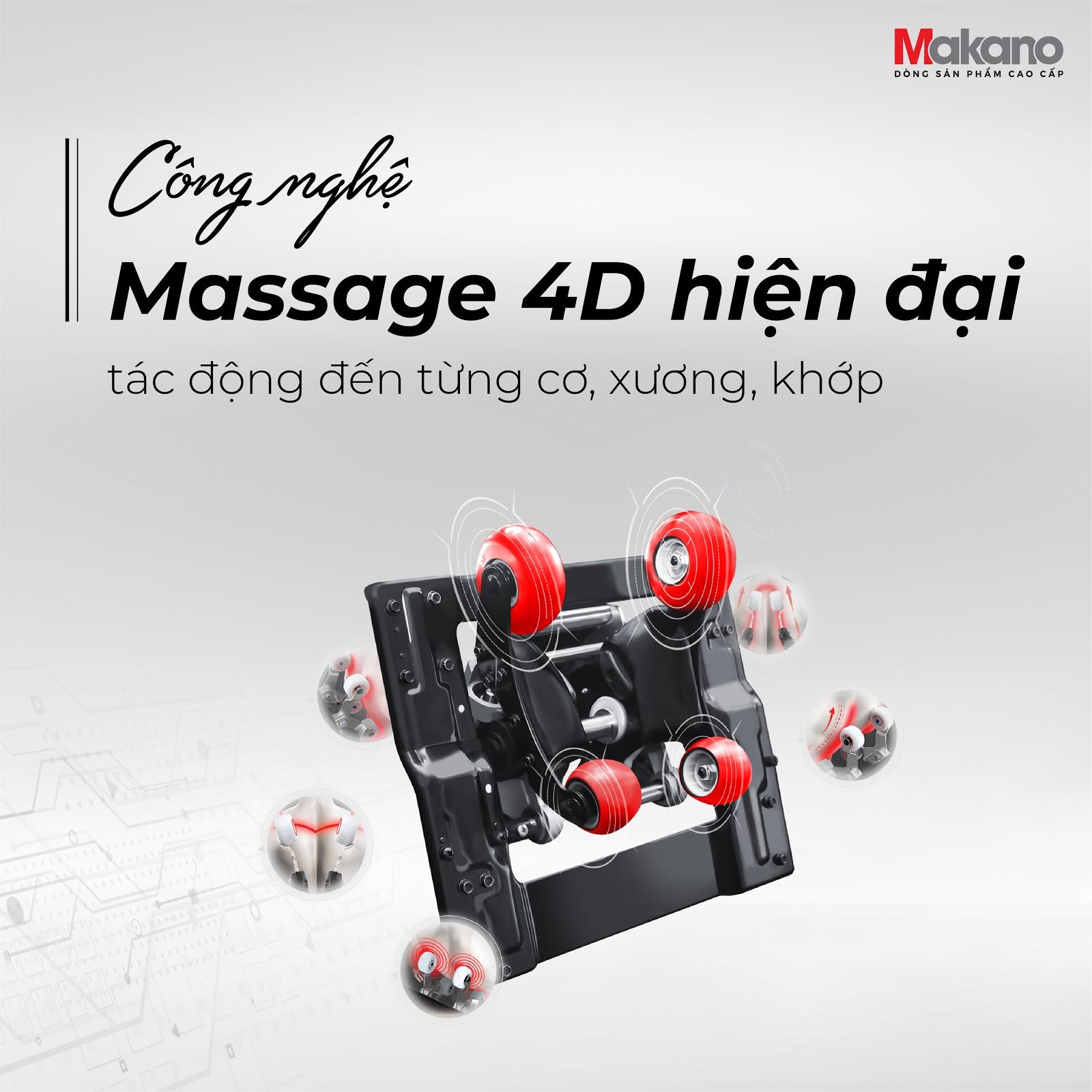 Công ghệ ghế massage cao nhất hiện nay sử dụng con lăn 4D