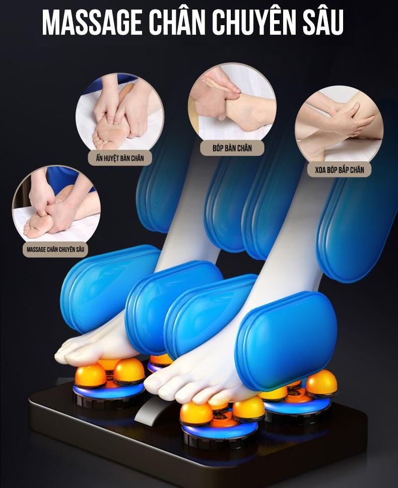 Massage chân chuyên sâu kết hợp đầy đủ các phương pháp giúp giảm thiểu căng thẳng, mệt mỏi