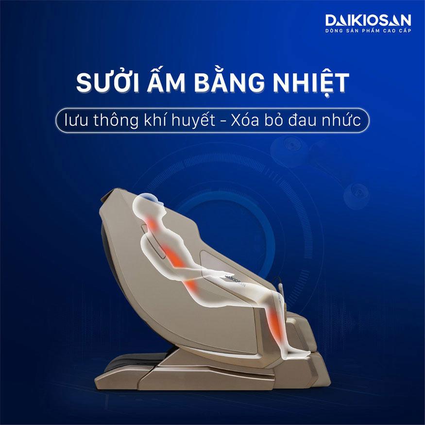 ghế massage trị thoát vị đĩa đệm nhờ sưởi ấm