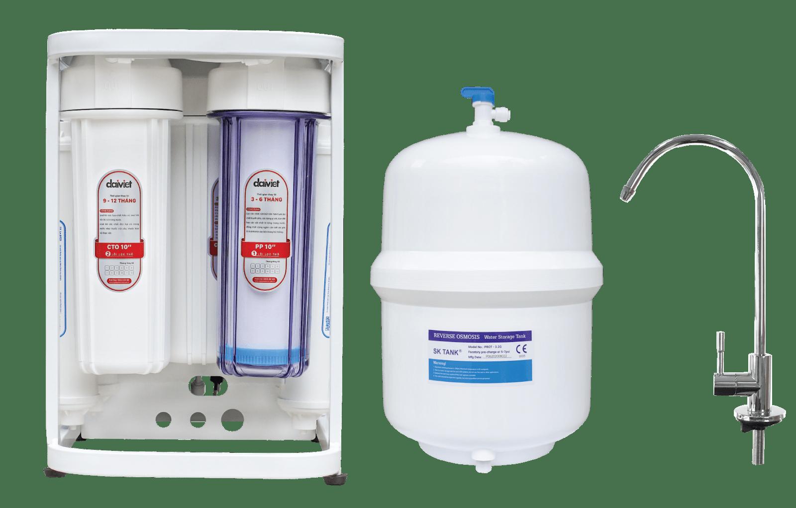 Máy lọc nước RO không vỏ tủ dùng cốc Daikiosan DSW-35008D