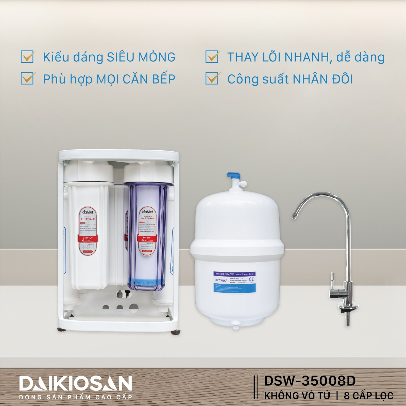Máy lọc nước RO không vỏ tủ phù hợp cho mọi căn bếp