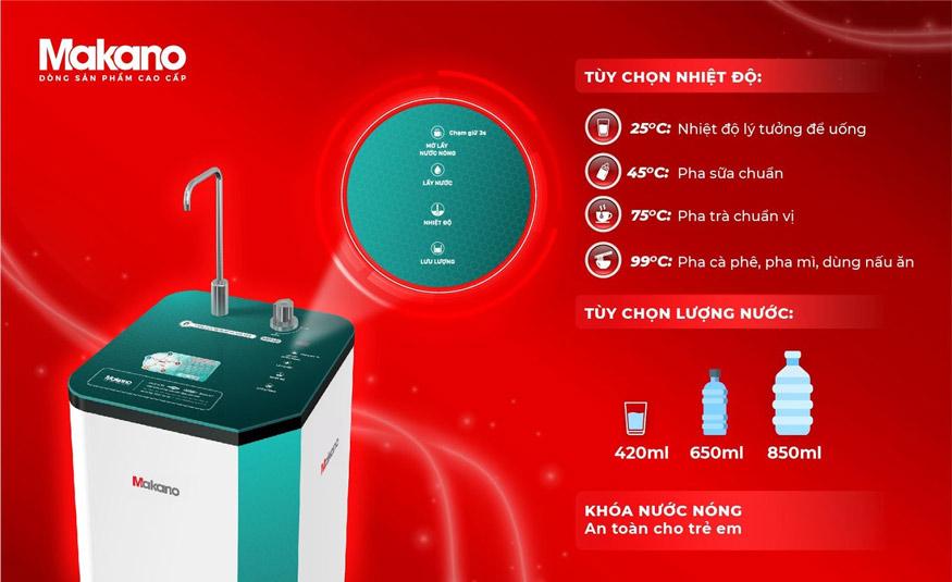 tùy chọn nhiệt độ nước ấm, nước nóng với máy lọc nước nóng nguội siêu nhanh Daikiosan và Makano