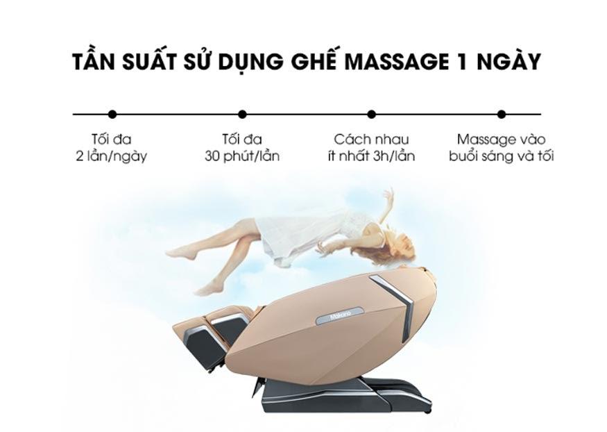 Tần suất sử dụng ghế massage được khuyến cáo là tối đa 2 lần mỗi ngày.