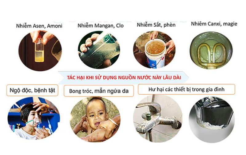 tác hại khi sử dụng nước giếng khoan bị ô nhiễm