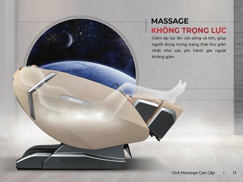 Chế độ massage không trọng lực giảm áp lực lên cột sống và tim người dùng