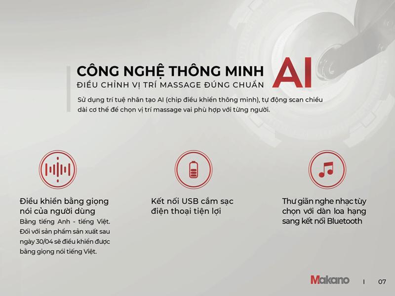 Công nghệ thông minh AI được tích hợp trên ghế massage hiện đại
