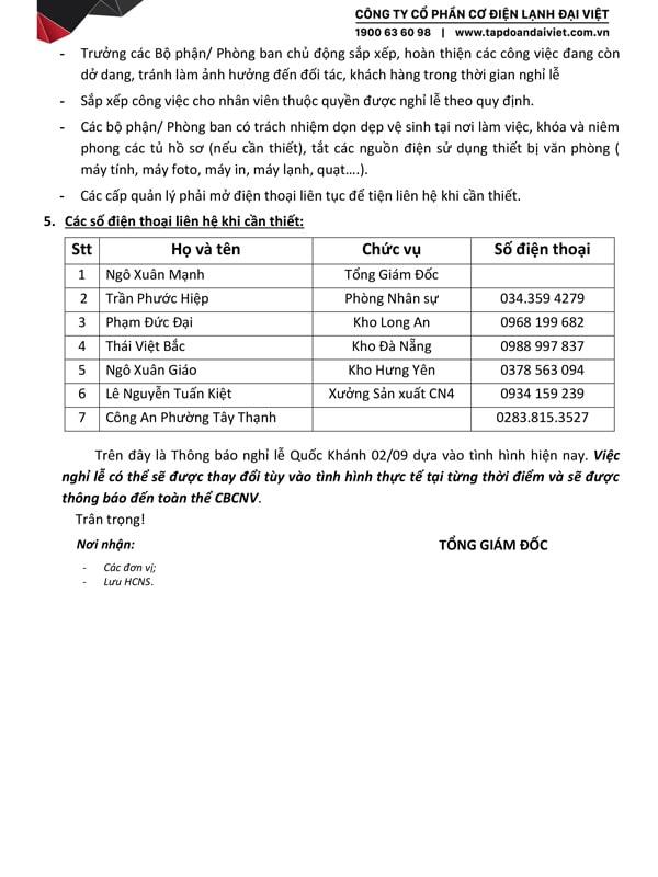 thông báo lịch nghỉ lễ quốc khánh 02/09 năm 2020