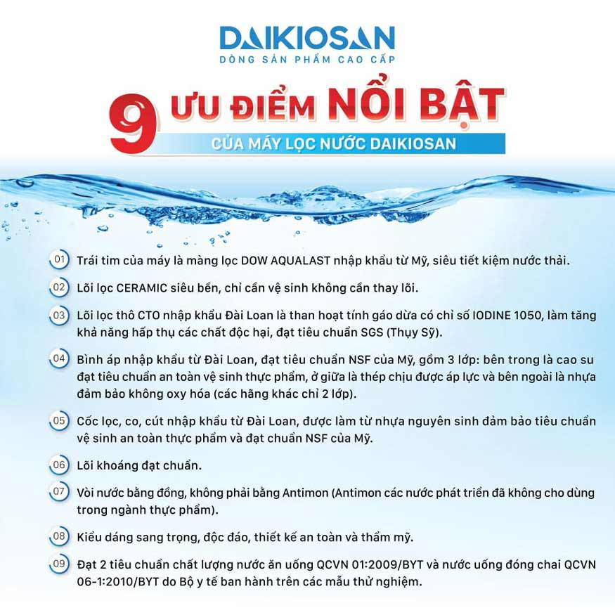 Linh kiện chất lượng của máy lọc nước RO Daikiosan và Makano