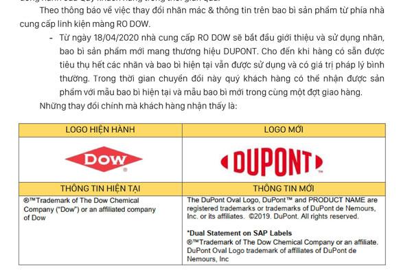 Thông báo thay đổi thông tin và logo màng RO DOW của máy lọc nước