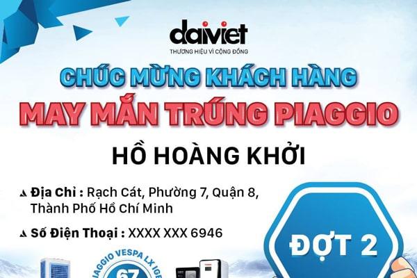 Đại Việt công bố kết quả bốc thăm  trúng giải xe máy Piaggio đợt 2