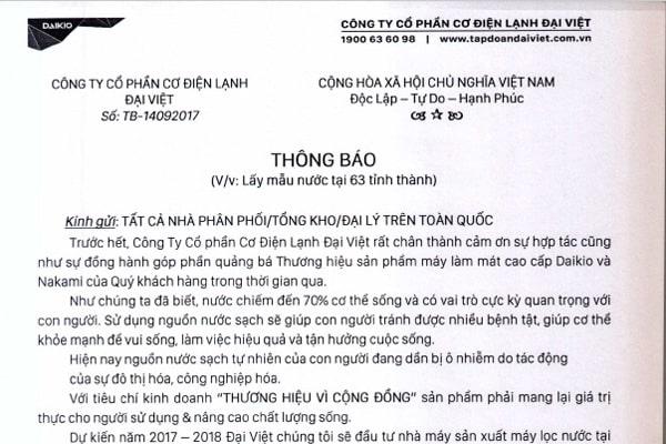 Công ty Đại Việt thông báo lấy mẫu nước xét nghiệm miễn phí ở 63 tỉnh