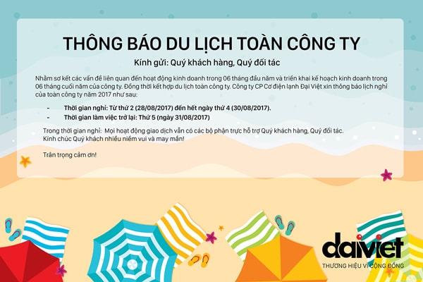 Đại Việt thông báo du lịch toàn công ty