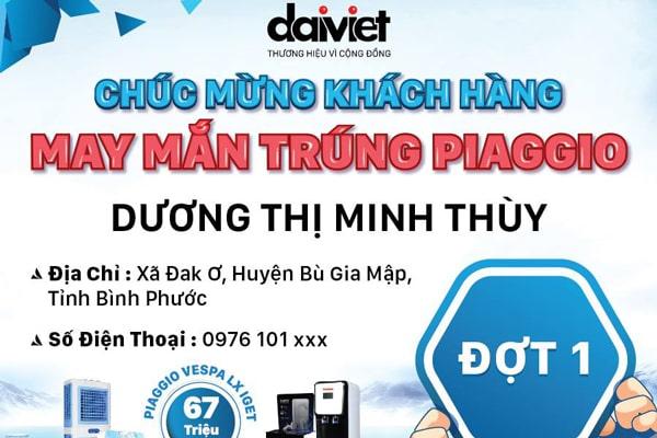 Đại Việt thông báo người trúng giải xe máy Piaggio đợt 1