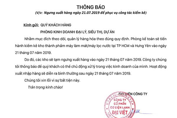 Đại Việt thông báo ngưng xuất hàng hóa ngày 21/07/2019