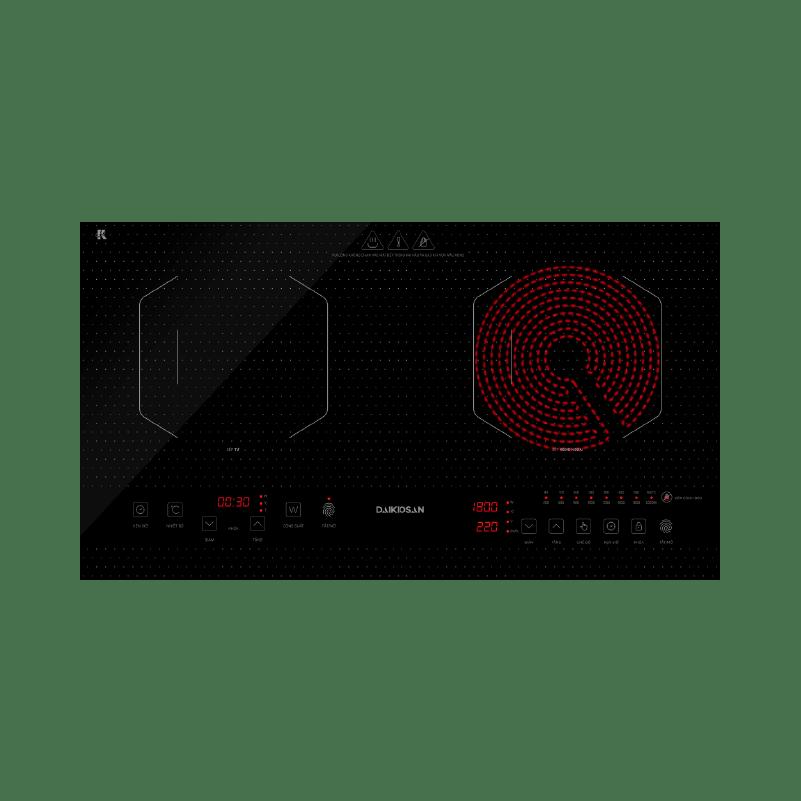 Bếp kết hợp từ và hồng ngoại Daikiosan DKC-200001 - 2 vùng nấu lắp âm