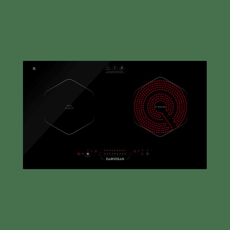 Bếp kết hợp từ và hồng ngoại Daikiosan DKC-200002 - 2 vùng nấu lắp âm