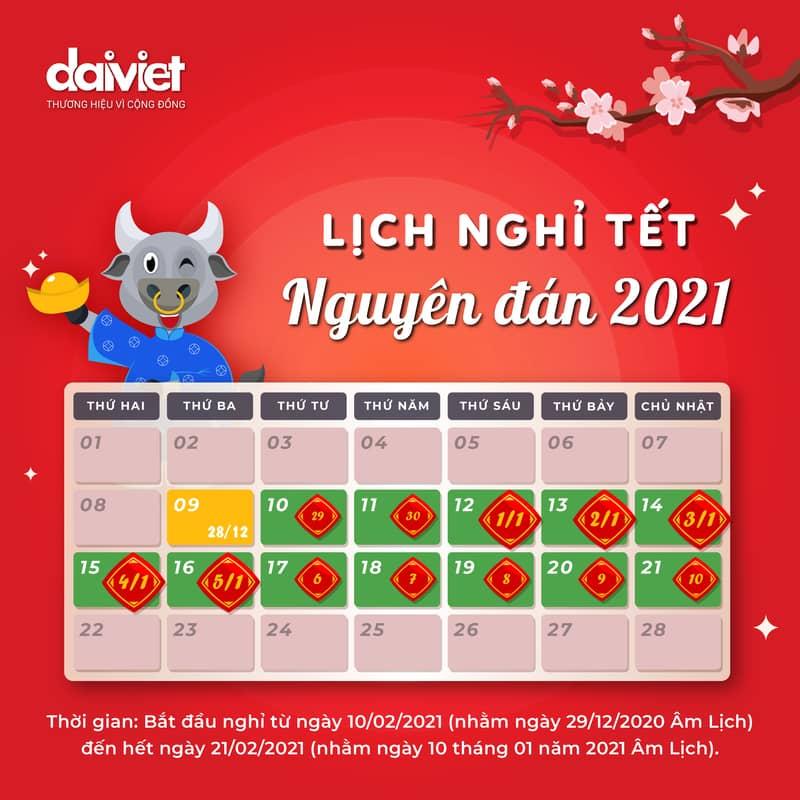 Lịch nghỉ Tết Nguyên Đán Tân Sửu 2021