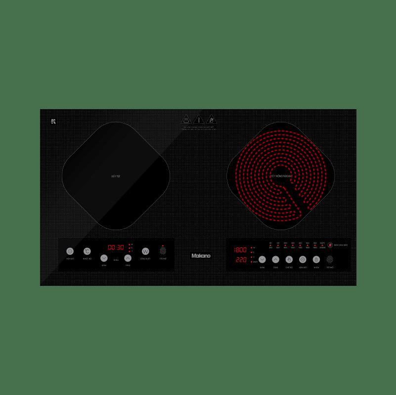 Bếp kết hợp từ và hồng ngoại Makano MKC-200001 - 2 vùng nấu lắp âm