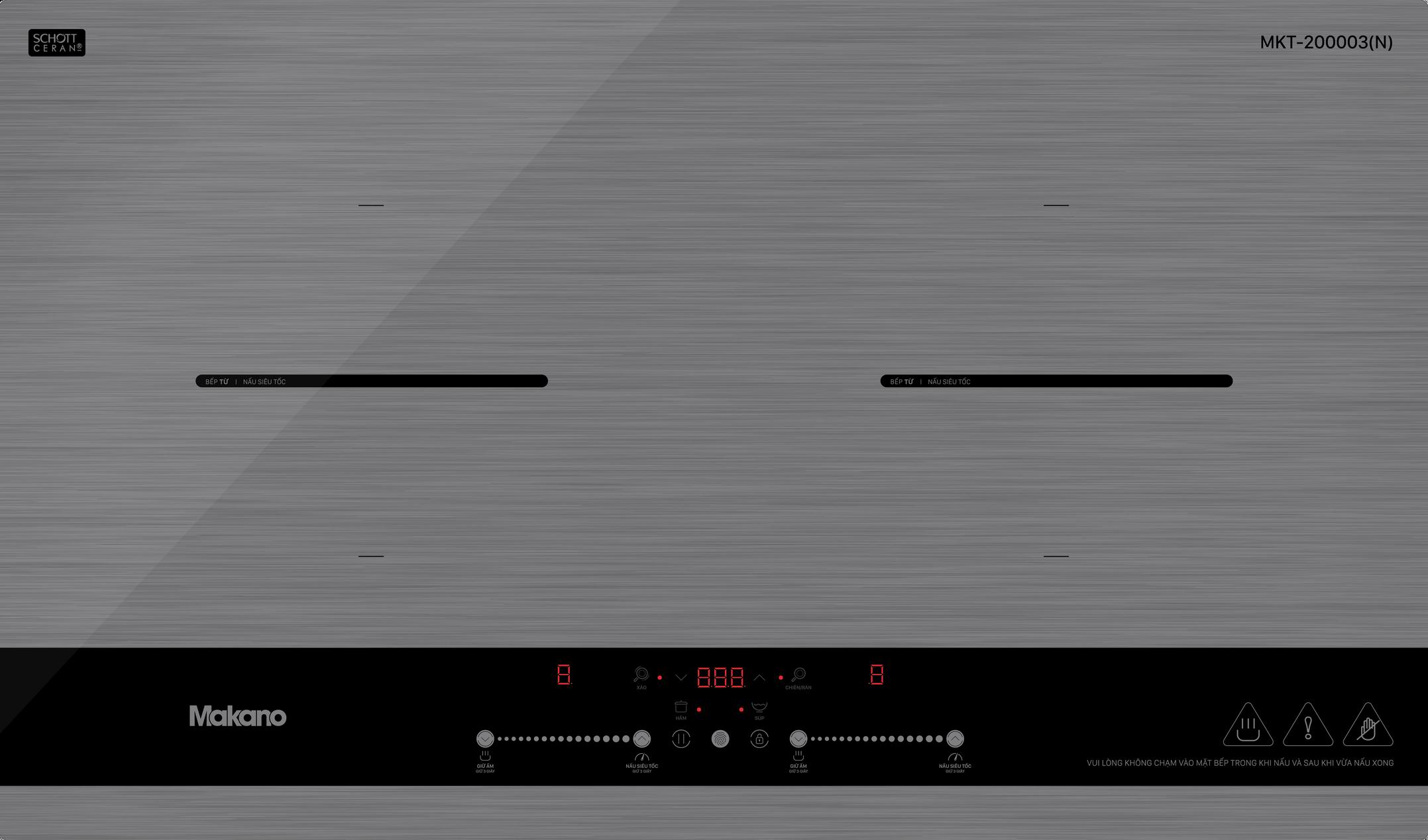 Bếp từ Makano MKT-200003N - 2 vùng nấu lắp âm