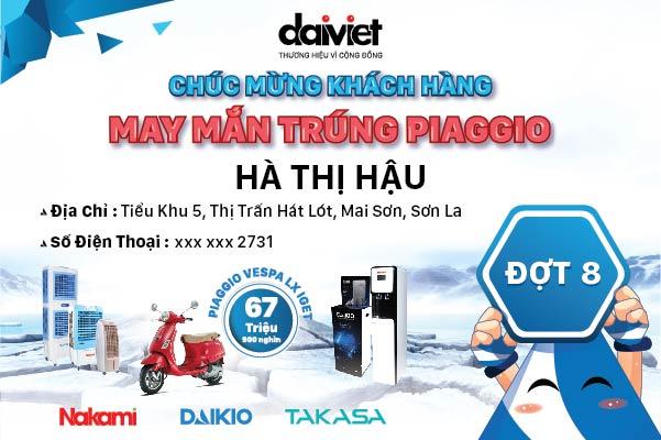 Công bố khách hàng thứ 8 trúng xe máy piaggio khi mua Daikio / Nakami