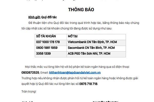 Đại Việt thông báo cập nhật thông tin tài khoản ngân hàng
