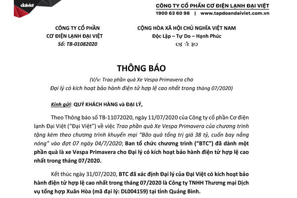 """Thông báo trao quà xe Vespa cho đại lý tháng 7 - Chương trình """"Bão Quà 38 Tỷ - Cuốn Bay Nắng Nóng"""""""
