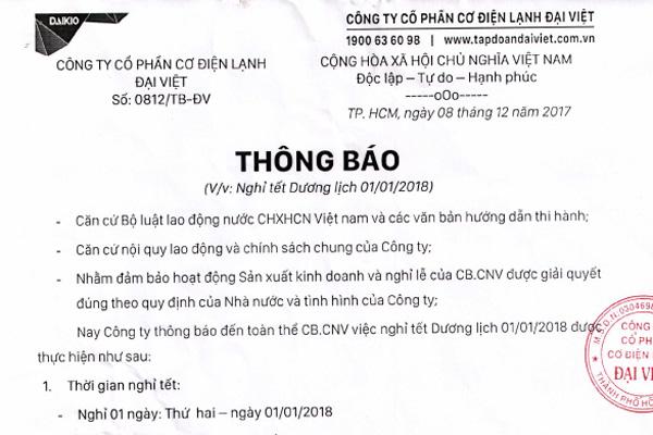 Đại Việt thông báo nghỉ tết dương lịch