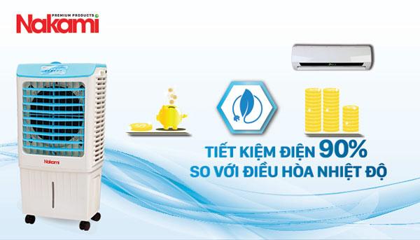tiết kiệm 90% điện năng tiêu thụ so với điều hoà nhiệt độ