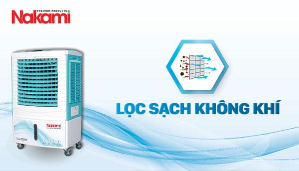máy làm mát nakami 05000D giúp lọc sạch không khí