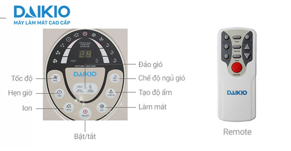 máy làm mát daikio có chế độ điều khiển từ xa, hẹn giờ thuận tiện