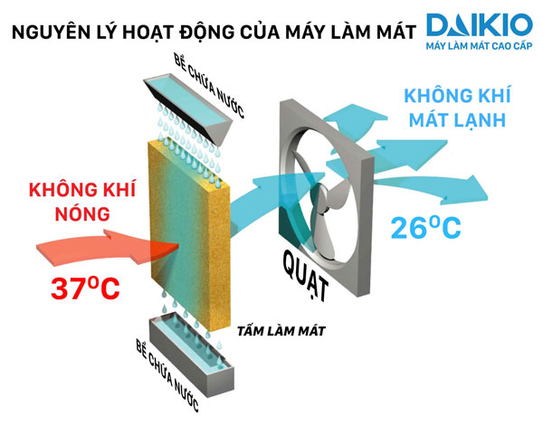 công nghệ làm mát không khí nhanh - nguyên lý hoạt động máy làm mát cao cấp daikio