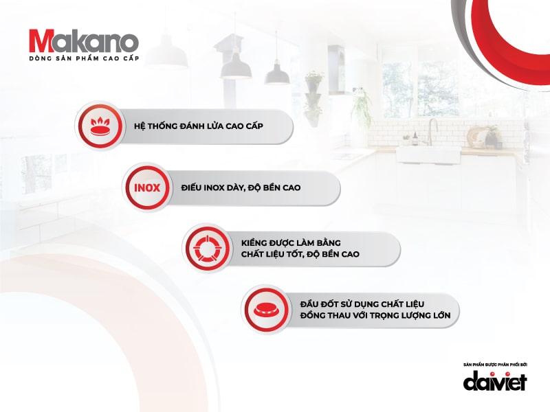 bếp ga makano mkg-200002 có nhiều ưu điểm nổi bật